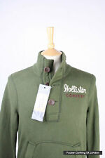 HOLLISTER MENS SWEATSHIRT SMALL 40 CHEST KHAKI GREEN SOFT COTTON BUTTON NECK