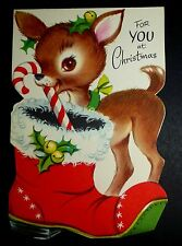 Vintage Christmas Card 50s SWEET LITTLE FAWN DEER PUNCH OUT UNUSED SUE ANN DOLL