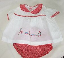 Vintage Red Checked Gingham Baby Dress Diaper Set