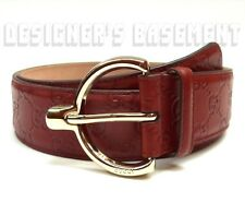 GUCCI brick red 42-105 GUCCISSIMA leather gold SPUR Logo buckle belt NWT Authent