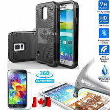 Tempered Glass Screen Protector + BLACK Case Armor for Samsung Galaxy S5 / NEO