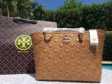 TORY BURCH MARION QUILTED SMALL E/W EAST WEST TOTE TIGERS EYE NWT $535 ORIG WRAP