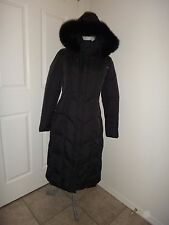 JESSIE G.~Women's Long Down Winter Puffer Coat~Black Jacket~Fox Fur Hood~Sz M