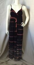 Gypsy 05 Black/Gray/Coral Tye-Dyed Bamboo/Spandex Strap Maxi Dress Size XS