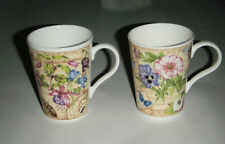 "PAIR CROWN TRENT 4"" COFFEE TEA CUPS FLOWERS FRUIT PANSIES HAND DECORATED ENGLAND"
