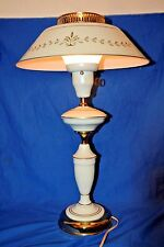 Vtg Tole Toleware Metal White Table Lamp w/ Shade & Milk Glass Beautiful cond.