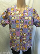 Garfield/Odie Scrub Women's Top by Paws Inc. Purple 2 Front Pockets  M Uniform