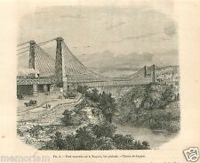Suspension Bridge Pont suspendu Niagara River Canada GRAVURE ANTIQUE PRINT 1862