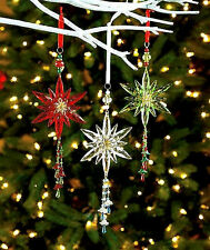 Set of 3 Shooting Star Beaded Acrylic Ornaments Christmas Tree Decoration