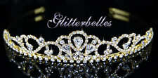 Gold tone glitterbelles Crystal Floral Mariage nuptiale vagues Prom Tiara