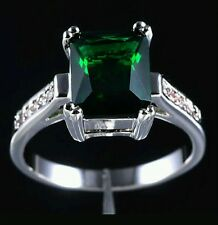 6.0ct Green Emerald 10k White Gold Size 7 ring