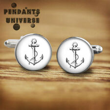Anchor handmade cufflinks 16mm nautical cuff links with a FREE gift box