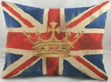 Union Jack Flag Blue Crown Belgian Tapestry Cushion 18 x 13""