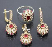 Turkish Handmade 925 Sterling Silver Ruby Ladies Set Size 7.50 free resize