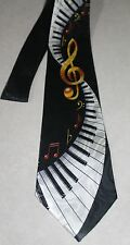 NWT Mens Black Neck Tie Piano Keys and Notes New Neck Tie