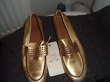 bnwt   CATERINA MARTINS GOLD LEATHER MOCCASINS SHOES  sz: 38  5
