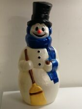"42"" Snowman w Blue Scarf Plastic Blow Mold Lighted Christmas Decoration NEW"