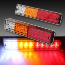 Pair 12V ATV Truck 20 LED Trailer Rear Tail Brake Reverse Light Turn Signal Lamp