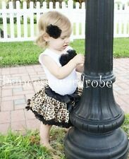 Baby Black Leopard Pettiskirt with Top Skirt Set 3-12M