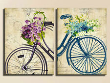 VINTAGE BICYCLES MODERN ABSTRACT CANVAS PRINTS LARGE 60x80 SET OF 2 WALL ART