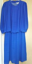 Blue Dress 80s Size 24 Charlee Allison Secretary Party Career Modest Puffy