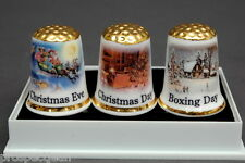 Christmas Eve,Christmas Day & Boxing Day Boxed Set of Gold Topped Thimbles