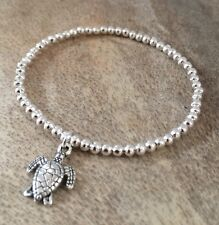 Silver Ball Beaded Turtle Charm Stretchy Surfer Bracelet
