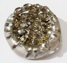 broche bijou ancienne en relief  cristaux navette de couleur diamant gris *1711