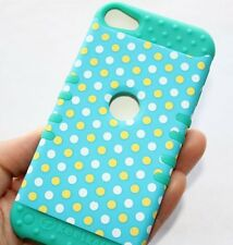 iPod Touch 5th Gen HARD & SOFT HYBRID IMPACT ARMOR CASE TURQUOISE BLUE POLKA DOT