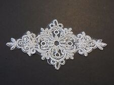 off white bridal wedding floral sequins lace applique / sequined lace motif