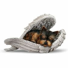 Yorkie Pup Wrapped in the Loving wings of Angel Sculpture Figurine NEW