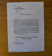 ANTICO DOCUMENTO LETTERA UFFIZIO DEL QUARTIER GENERALE FERRARA 16 GIUGNO 1848