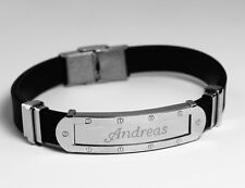 ANDREAS - Mens Bracelet With Name - Silver Tone With Frame - Birthday Custom