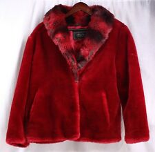 TERRY LEWIS Classic Luxuries Red Faux Fur Jacket Furry Coat Women Small S