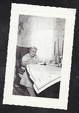 Vintage Antique Photograph Older Woman Writing At Table in Retro Dining Room