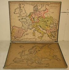 "2 ANTIQUE 1859 ""CORNELL'S OUTLINE MAPS"" EUROPE WALL MAP - COLTON US SCHOOL MAPS"