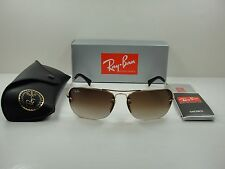 RAY-BAN SUNGLASSES RB3541 001/13 GOLD FRAME/BROWN GRADIENT LENS 61MM, NEW!