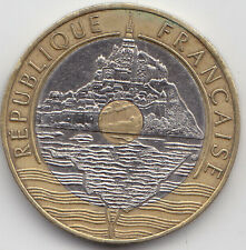 France - Twenty ( 20 )  Francs Trimetallic Coin - Mount Saint Michael - 1992