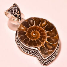 NATURAL AMMONITE 925 STERLING SILVER PENDANT FREE SHIPPING JEWELRY SE995