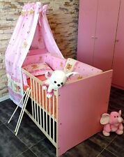 Lit à barreaux bébé junior enfant Lot 2in1 CONVERTIBLE 60x120 rose 5 Coloris