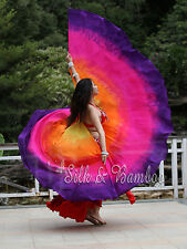 1set yellow-orange-pink-purple belly dance silk wing, changeable to double veils