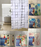 LUXURY MODERN BATHROOM SHOWER CURTAIN WITH RINGS WATER REPELLENT 180 x 180 CM