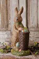 New Country Chic Shabby Easter BUNNY PAINT EGG BASKET Rabbit figurine Statue
