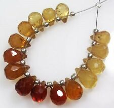 14  SHADED HESSONITE GARNET FACETED DROP BRIOLETTE BEADS  H3