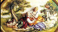 Porcellana di Capodimonte. Quadro ovale a rilievo scena pastorale