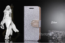 SILVER Bling-Bling Glossy Gilter Wallet Flip Case Cover For Samsung Galaxy S4