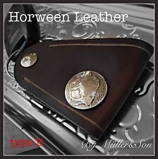 Müller&Son Genuine Horween Leather Buffalow Coin Key Chain Ring Handmade in USA