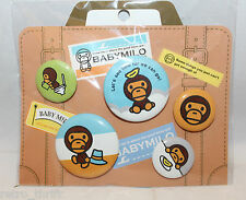 Sanrio Japan Baby Milo Set of 5 Tin Badge Monkey Banana Hat 2 Sizes New Rare