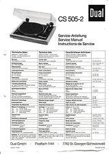 Service Manual-Anleitung für Dual CS 505-2