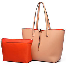 Ladies Designer Long Handle Tote Shoulder Handbag Reversible PU Leather Bag